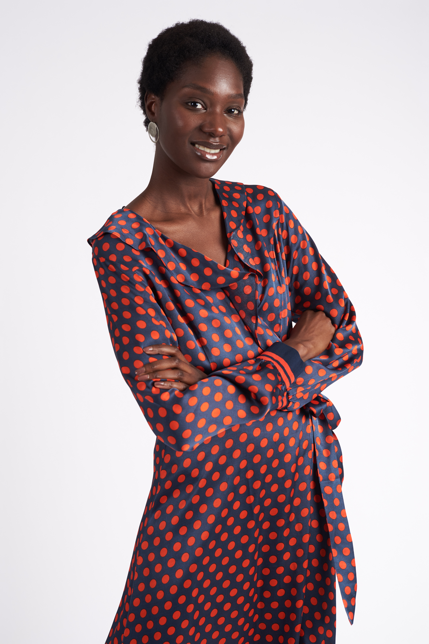 Second Female Spotty Wrap Dress Navy Marqet